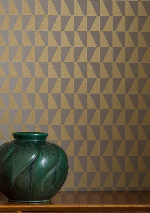 Papel pintado geométrico Papel pintado Balder oro perla Ver habitación