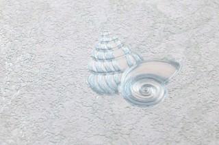 Wallpaper Laurin Shimmering pattern Matt base surface Corals Shells Snail shells Starfish Green white Cream shimmer Pale blue shimmer White-green shimmer