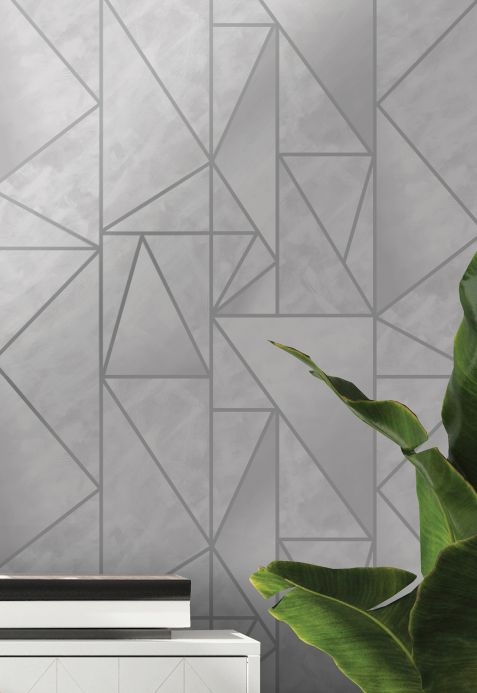 Geometric Wallpaper Wallpaper Fantasque light grey Room View