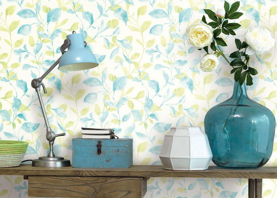 Archiv Wallpaper Wirsgo pastel turquoise Room View