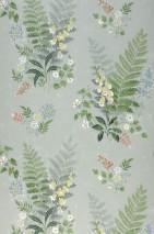 Tapete Niobe Matt Blätter Blumen Blassgrün Brillantblau Grasgrün Grünbeige Rotorange