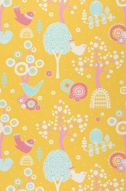 Wallpaper Körsbärsdalen maize yellow Roll Width
