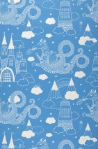 Wallpaper Drakhimlen Hand printed look Matt Dragons Castle Stars Clouds Sky blue White