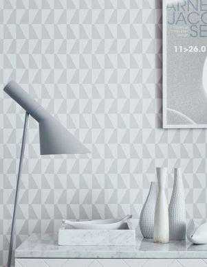 Papel pintado Balder gris claro Ver habitación