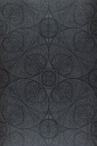 Papel pintado Kassandra Mate Damasco floral Elementos geométricos Gris oscuro Negro brillante