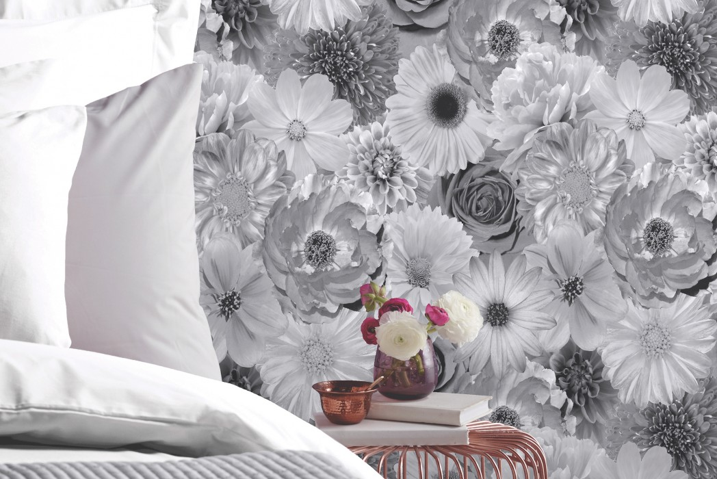 Wallpaper Carmellin Shiny Blossoms Grey Black grey Silver