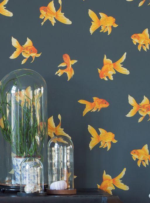 Romantic wallpaper Wallpaper Wabella golden yellow Room View