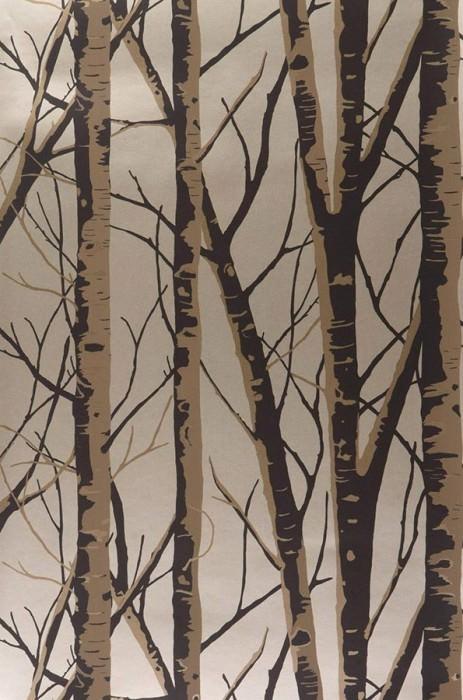 Papier peint Diomedes Motif mat Surface chatoyante Arbres Doré Brun pâle Noir