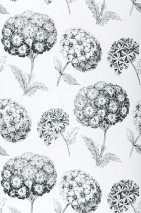 Papier peint Larissa Mat Fleurs Blanc Noir