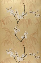Wallpaper Durga Shimmering Bamboo leaves Cherry blossoms Gold Light brown Black brown White
