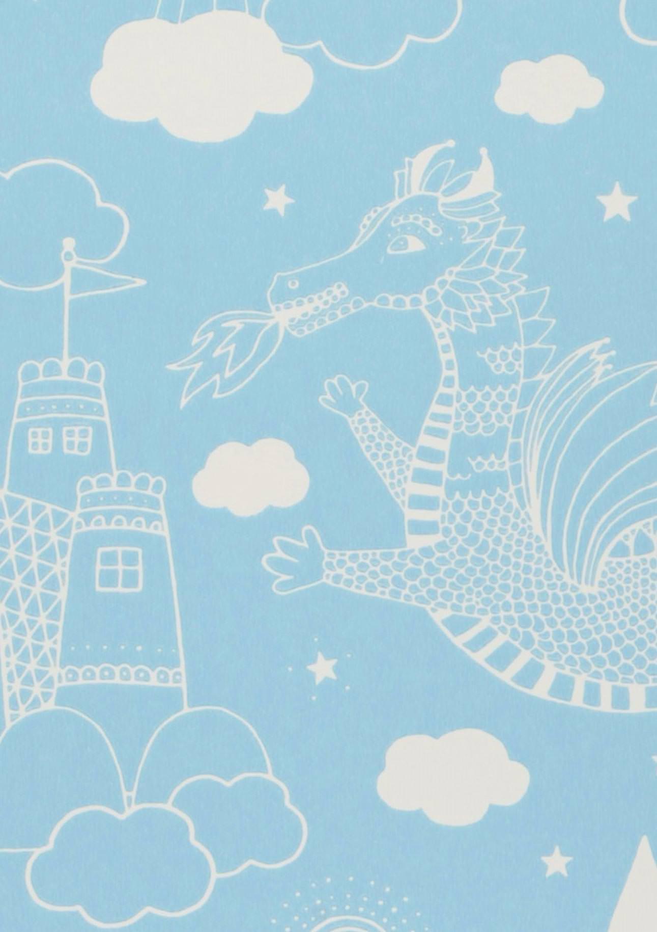 Tapete drakhimlen hellblau weiss tapeten der 70er for Tapete hellblau muster