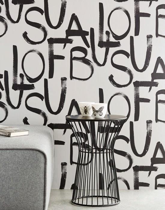 Wallpaper Urban Matt Letters Cream Black