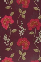 Papel pintado Mimir Mate Flores Violeta oscuro Beige verdoso Rojo frambuesa Oro blanco lustre