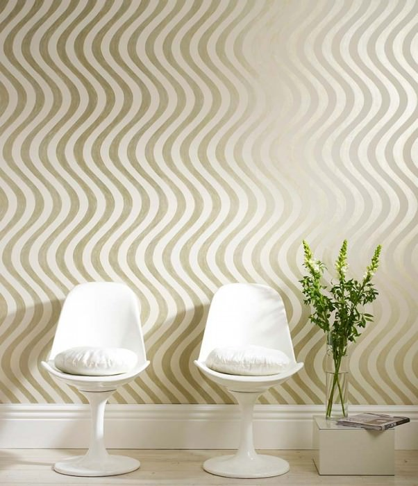 Wallpaper Fortuna Shimmering pattern Matt base surface Waves Cream Gold