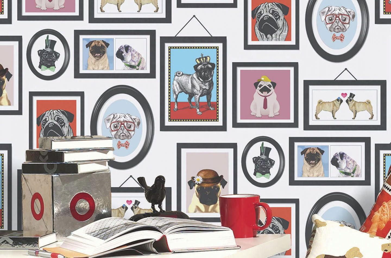 Carta Da Parati Bambini Fanny Dogs: Carta Da Parati Dogs Only Club (Bianco, Beige, Verde, Blu