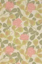 Wallpaper Ludivine Hand printed look Matt Leaves Blossoms Art nouveau Clover Cream Light fern green Light pink Olive green