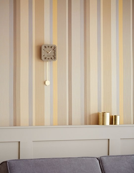 Wallpaper Keila Matt Looks like textile Stripes Gold shimmer Grey beige Grey tones Light ivory Sand yellow