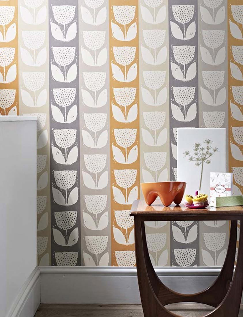 tapete ana cremeweiss achatgrau grau kieselgrau pastellorange tapeten der 70er. Black Bedroom Furniture Sets. Home Design Ideas