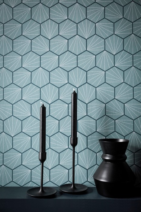 Wallpaper Vitara Matt Graphic elements Hexagons Mint grey Grey blue Grey white