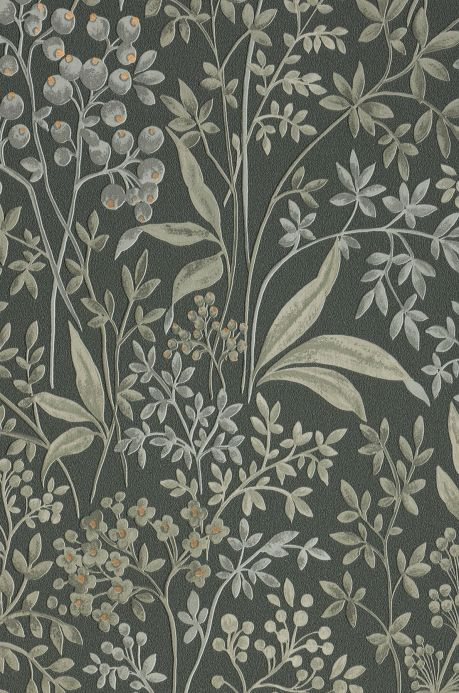 Floral Wallpaper Wallpaper Pilar pale grey green A4 Detail