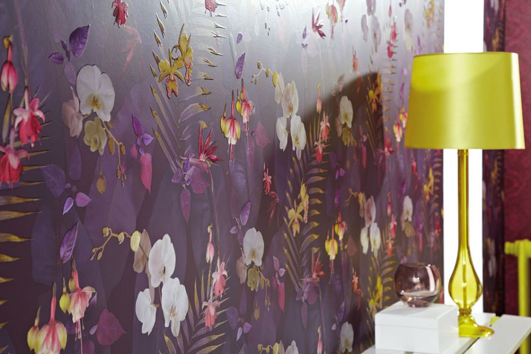 Archiv Wallpaper Zoe violet tones Room View