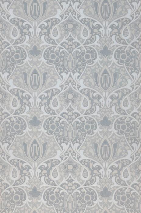 Wallpaper Lamine Hand printed look Matt Art nouveau damask Pale grey Pale grey beige Blue grey White grey