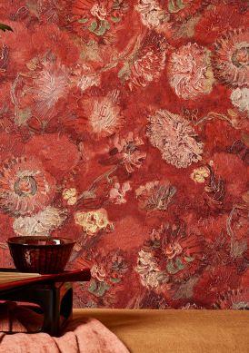 Wallpaper VanGogh Peonies brown red Room View