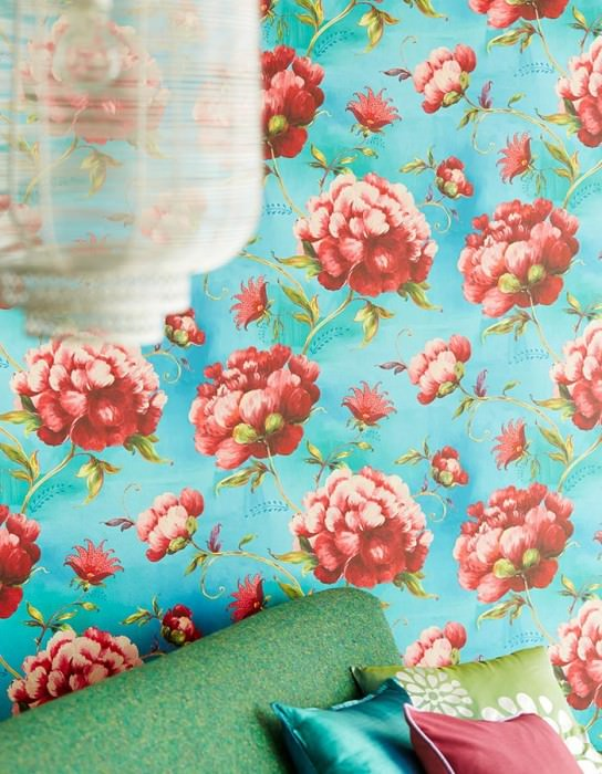 Wallpaper Meila Matt pattern Shimmering base surface Leaves Flowers Turquoise blue Yellow green Light pink Red Violet blue