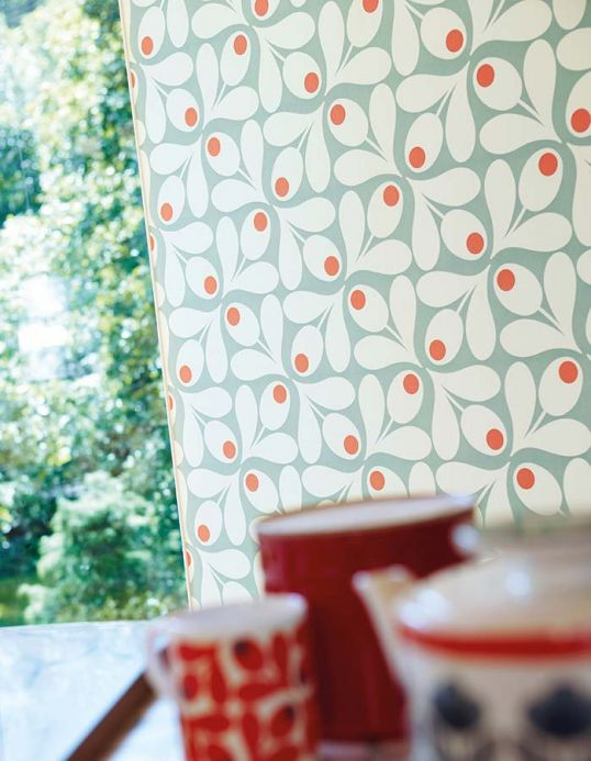 Vintage Wallpaper Wallpaper Loki pastel turquoise Room View