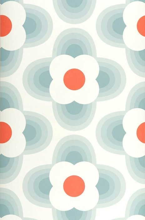 Wallpaper Selene Matt Stylised blossoms Cream Grey blue Salmon orange