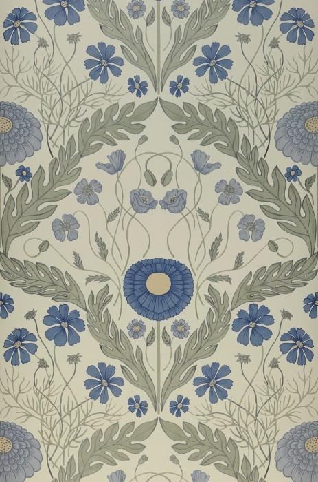 Papel pintado Lomasi Mate Damasco floral Verde blanquecino Azul celeste Beige Gris azulado Verde caña
