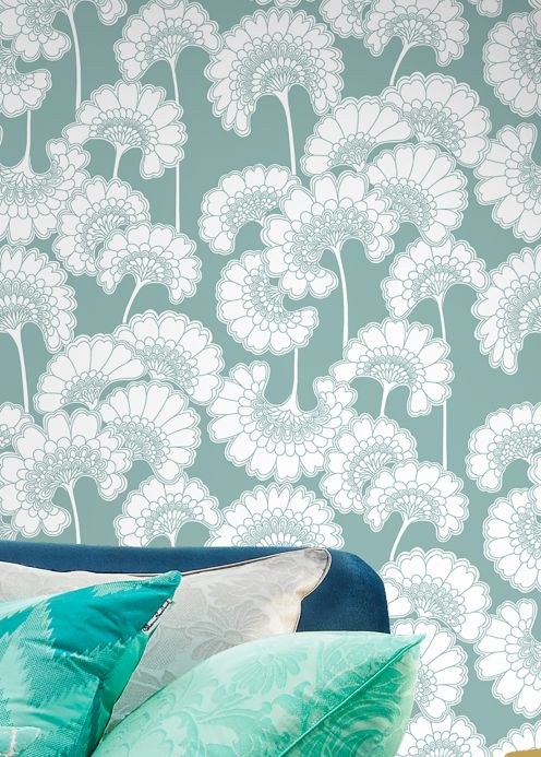 Floral Wallpaper Wallpaper Ornate mint turquoise Room View