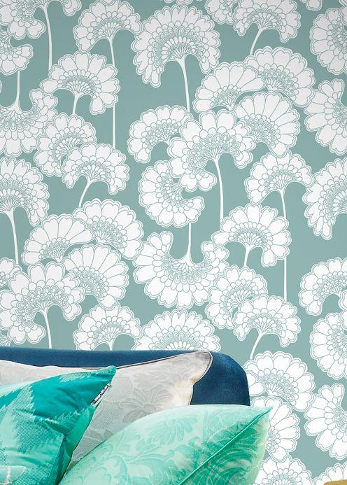 Papel pintado floral Papel pintado Ornate turquesa menta Ver habitación