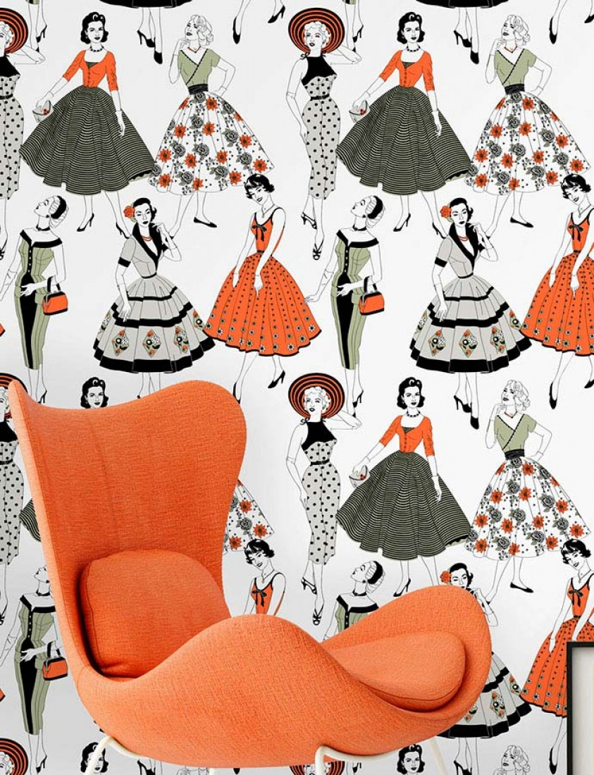 Papier Peint Vintage Dress Blanc Gris Clair Orange Rouge Vert