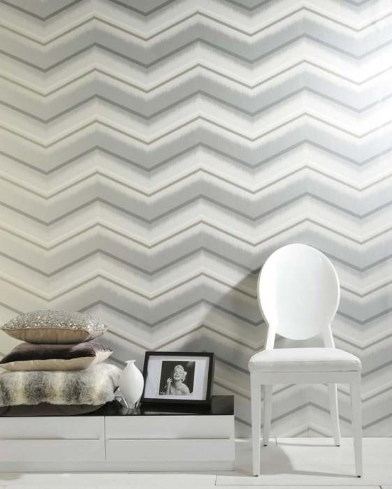 Wallpaper Suna Shimmering pattern Matt base surface Zigzag Grey white Silver White