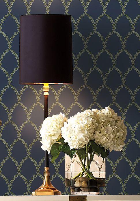 Papel de parede clássico Papel de parede Laurelia azul acinzentado Ver ambiente