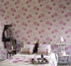 Wallpaper Isimud Matt Flower tendrils Light grey Heather violet