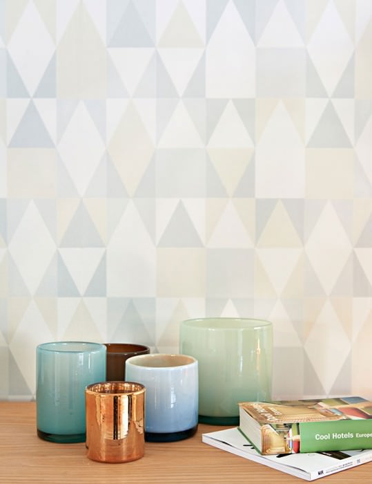 Wallpaper Alice Hand printed look Matt Geometrical elements Pale grey Cream Light ivory Light grey