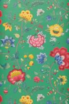 Tapete Belisama Matt Blätter Blumenranken Insekten Grün Beigegrau Blau Goldgelb Himbeerrot Patinagrün