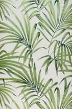 Wallpaper Almudena Shimmering pattern Matt base surface Palm fronds Cream Yellow green pearl lustre Black green