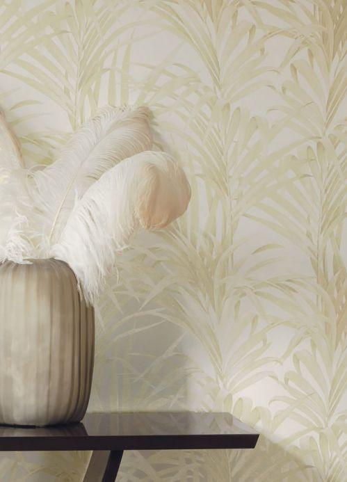 Botanical Wallpaper Wallpaper Palmetto cream shimmer Room View