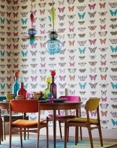 Wallpaper Escal Matt Butterflies Cream Grey Salmon orange Pink Black Turquoise blue