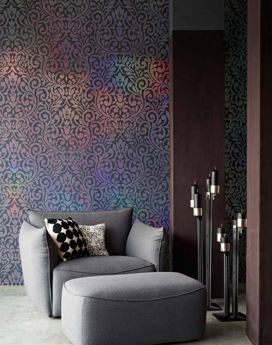 tapete lynda anthrazit silber tapeten der 70er. Black Bedroom Furniture Sets. Home Design Ideas
