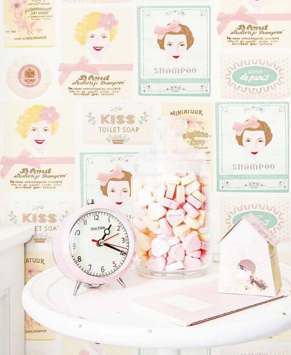 Wallpaper My sweet soap Matt Vintage labels White Pale brown Pale yellow Light pink Pastel green