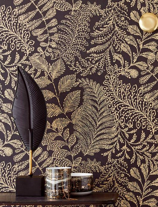 Botanical Wallpaper Wallpaper Lioba pearl gold Room View