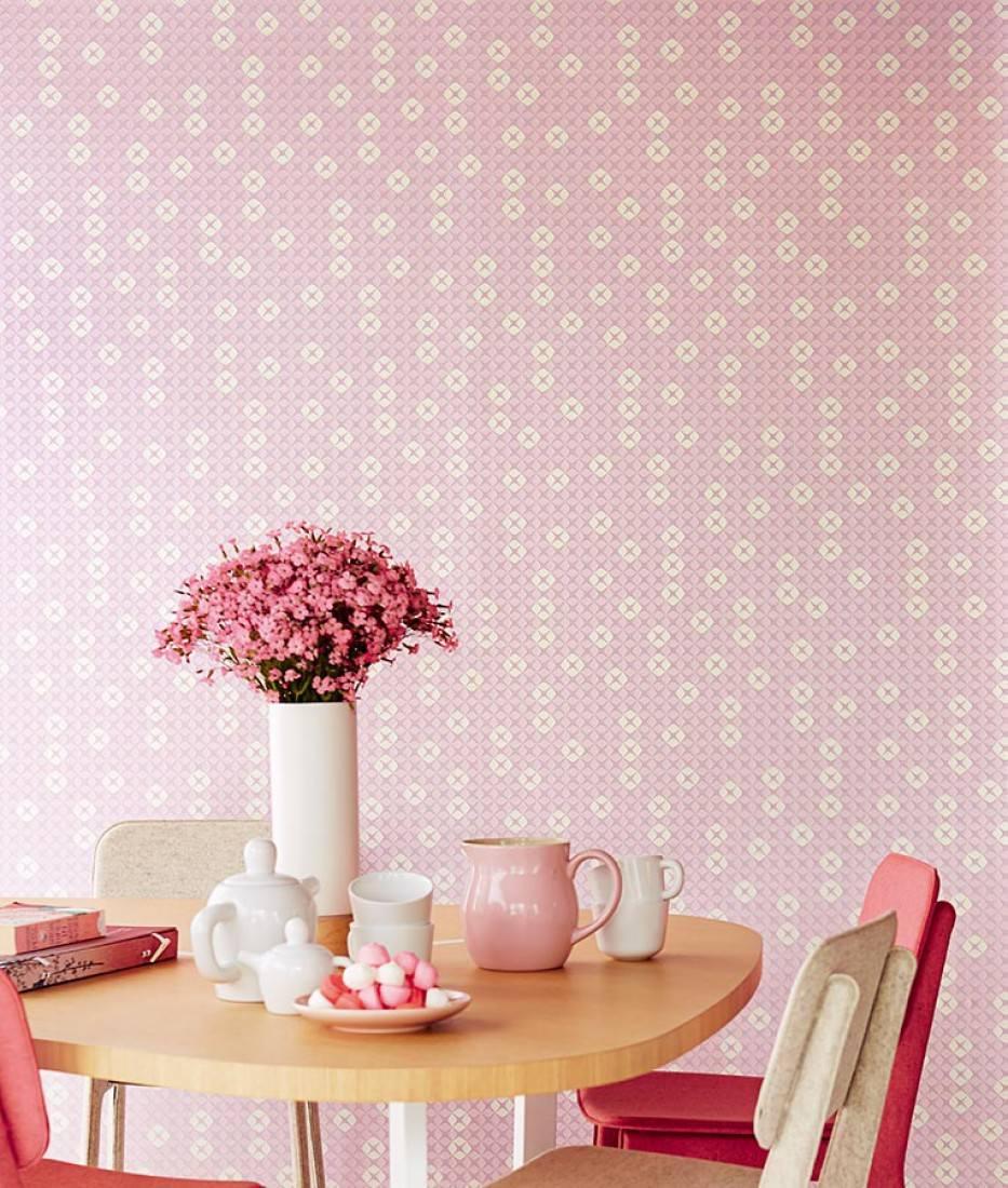 Papier peint korsal rose pastel clair blanc cr me papier peint des ann e - Papier peint annee 70 ...