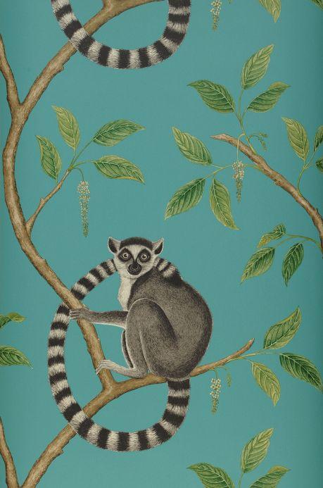 Papier peint avec des animaux Papier peint Aldo turquoise menthe Largeur de lé