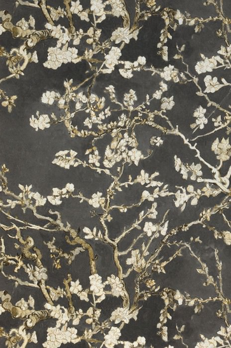 Wallpaper VanGogh Blossom Matt Branches with leaves and blossoms Umbra grey Light ivory Light grey Olive yellow Black brown