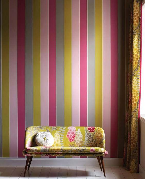 Wallpaper Jebisu Matt Stripes Cream Pale red violet Pale Yellow green Light grey Light pink