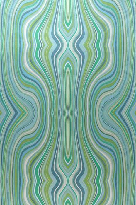 Wallpaper Mentana Matt Retro design Wavy pattern Cream Grey tones Mint turquoise